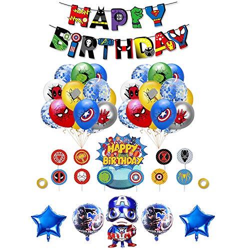 smileh Superhelden Deko Geburtstag Superhelden Latex Luftballons Avengers Aluminiumballon Superheld Alles Gute zum Geburtstag Girlande Superhelden Kuchendeckel Tortendeko Marvel Deko