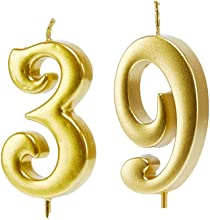 Mart 39th Birthday Candles,Gold Number 39 Cake Topper for Birthday Decorations