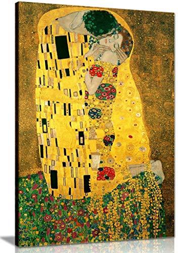 Kunstdruck auf Leinwand, Gustav Klimt Kuss, 61 x 40,6 cm