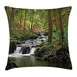 Lake House Throw Pillow Cover, Arroyo Que Fluye en el Bosque sobre Rocas Cubiertas de Musgo, follaje de árbol, Senderismo de Verano, 45 x 45 cm, Verde y marrón