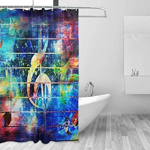 NBHJU BIIPUSU Resumen Colorido Notas Musicales Violín Clef Set de Cortina de Ducha para decoración del hogar Tejido de poliéster Impermeable Accesorios de baño con 12 Ganchos, 60
