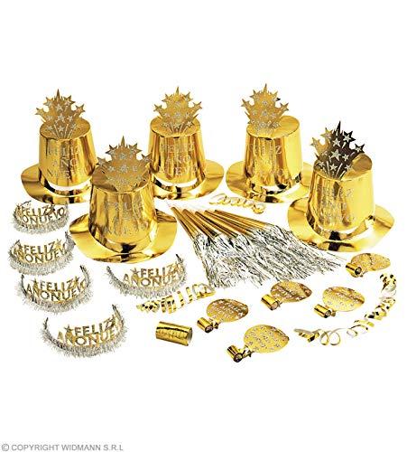 Widmann 8003S - Party-Set Feliz ano Nuevo in Gold, 5 Partyhüten, 5 Kronen, 5 Partytrompeten, 5 Tröten u. 1 Pack Luftschlangen, spanischer Text, Frohes neues Jahr mit Glitzer u. Lametta