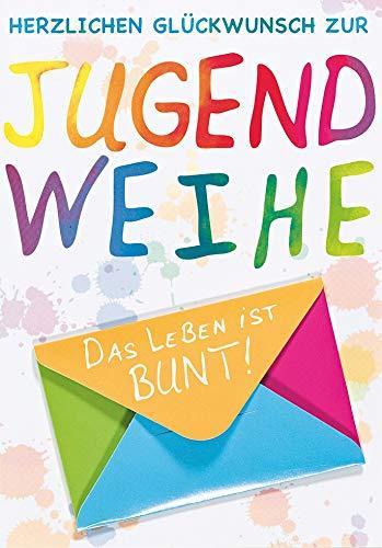 Geldkarte zur Jugendweihe Lifestyle - Schrift bunt - 11,6 x 16,6 cm