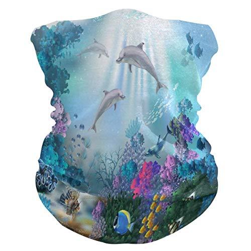 EU Underwater World of Dolphins Face Mask Bandana Droplet Dust Wind UV Sun, Neck Gaiter Tube Mask Headwear, Motorcycle Face Mask for Women Men Face Scarf