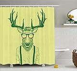 Geweih-Duschvorhang, Illustration von Hirschen, verkleidet wie cool Hipster, modisch, kreativ, lustig, Tier, Stoff, Badezimmer-Dekor-Set mit Haken, 183 x 183 cm, grün-gelb