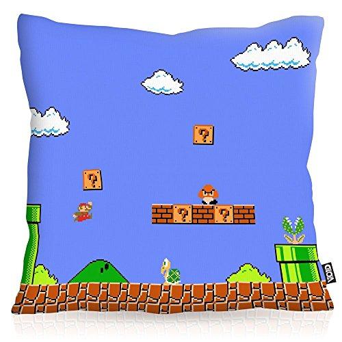 VOID 8-Bit Level Power Oreiller avec Motif taie d'oreiller Housse Outdoor Indoor Mario Jeu vidéo Console de Jeux Super World, Kissen Größe:40 x 40 cm