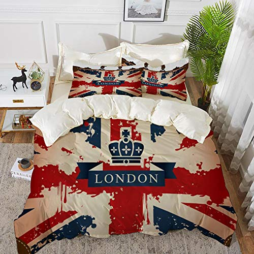 Derun Juego de Fundas de edredón,Maleta de Viaje Vintage con Bandera británica, Cinta de Londres e Imagen de la Corona/Microfibra Funda de Nórdico (Cama 240 x 260 cm + Almohada 50X80cm)