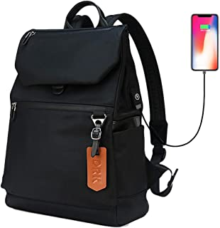 6542b6157340 Casual Backpack Lightweight Water Resistant Bookbag Nylon Black Daily  Laptop School Backpacks with USB Charging Port