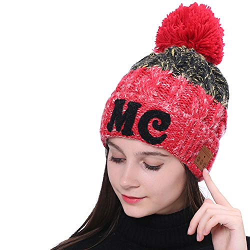 Cap Auricular Bluetooth Punto Beanie Sombrero De Bluetooth Inalámbrico con Auriculares Micrófono Casquillo De La Navidad Invierno De Punto para Mujeres Manos Libres Hablar Deportes De Invierno,Rojo