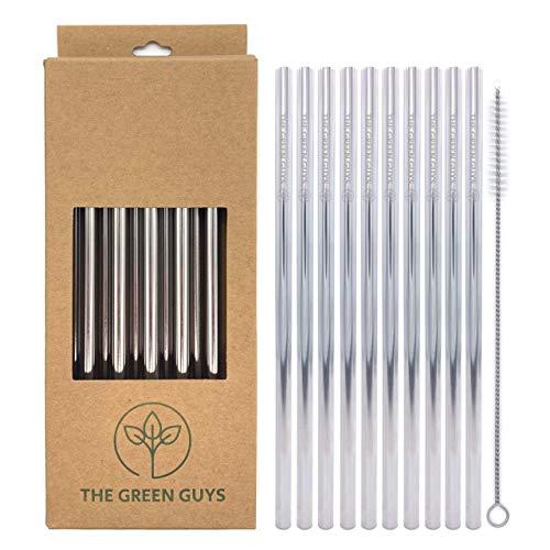 The Green Guys – 10er Pack – Edelstahl Strohhalme – Metall Trinkhalme – Edel – Nachhaltig – Wiederverwendbare Strohhalme – Metall Strohhalm – Edelstahlstrohhalm