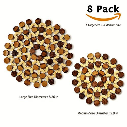 8 Sets BigHala Rustic Thicken Bamboo Drink Coasters Wooden Trivets Place Mats Burner Pads Tray for Mug Cups Hot Dishes Plates Pan Pot Kitchen Planter Countertop Dining Table Decorative Large & Medium
