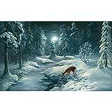 Puzzle de 1000 piezas para adultos, diseño de ciervo sobre fondo invernal, imposible juego difícil para niños – Moderno puzzle de animales