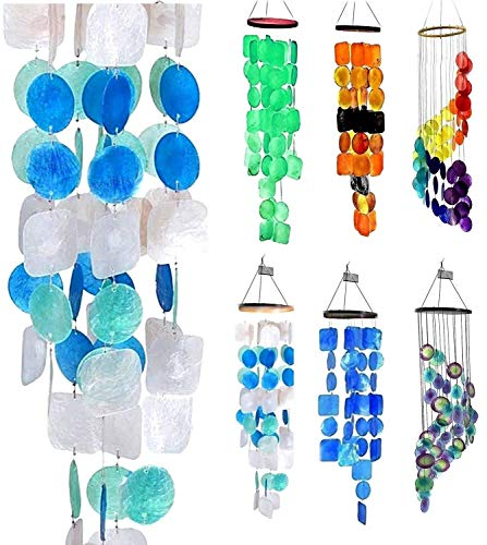 Bellaa 22906 Wind Chimes Outdoor Large Chime Garden Gifts for Mom Mother Memorial Sympathy Wind Chimes Patio Yard Unique Home Decor Handmade Bamboo Wood Capiz Sea Glass Color Shell 27 inch