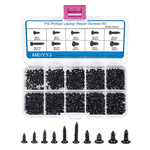 MEIYYJ M2 M3 M4 Philips Screws Assortment Set, 500PCs Self-Tapping Micro Screws in 10 Sizes for Computer Glasses Repairing, Carbon Steel Black Precision Screws Kit with Organizer Box