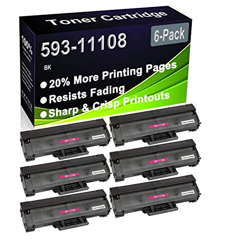 6-Pack (Black) Compatible B1160 B1160w B1163w B1165nfw Laser Printer Cartridge (High Capacity) Replacement for Dell 593-11108 HF44N Printer Cartridge