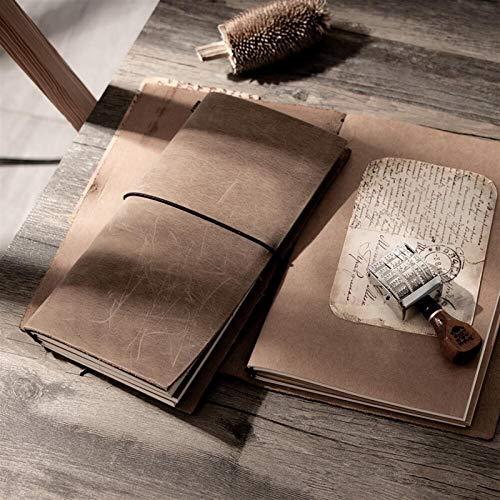 Notizbücher Reises Notebook Reisenden Leder Tagebuch handgemachte Notizbuch Journal Kuhhaut Schule Jahrgang stationär a5 a6 a7 Mini (Color : Gray, Size : Portable 16x10cm)