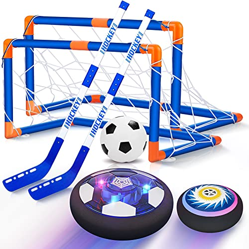 Hover Soccer Ball Set, 2-in-1 Soccer Hockey Set for Kids, Rechargeable Floating Air Soccer Hockey Ball w/ Led Lights, Indoor Outdoor Sports Toys Gifts for Kids Boys Girls Ages 4 5 6 7 8 -12