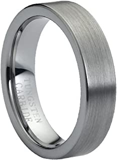 6mm Brushed Finish Flat Pipe Cut Tungsten Carbide Wedding Band