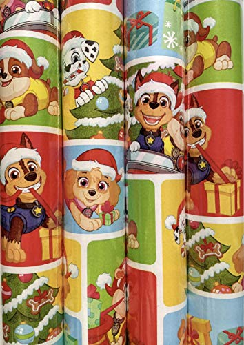 Paw Patrol Holiday - Christmas Festive Print Wrapping Paper with Fun Stir Stick Set Included
