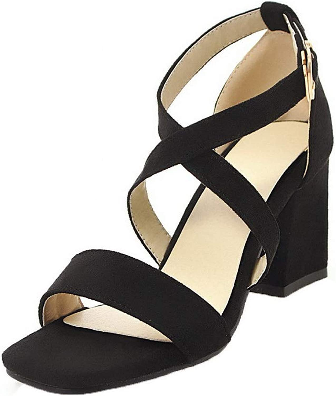 WeiPoot Women's Open Toe High Heels Frosted Buckle Solid Sandals