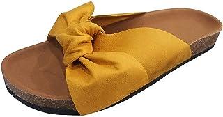 UULIKE Sandales Plates Femmes Couleur Unie Bowknot Fond Souple Antidérapant Semelle Matelassée Bout Ouvert Pantoufles d'ét...