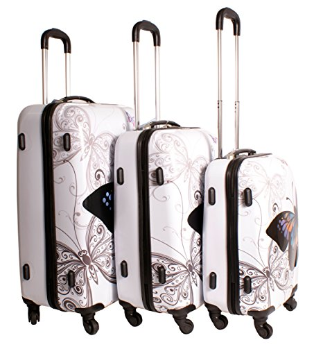 2408 Butterfly White Suitcase Multicolour Design Set of 3 Suitcases - Super Lightweight 4 Wheels - Funky Luggage Set - Hard Plastic