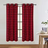 Red and Black Buffalo Check Textured Grommet Window Curtain Panels for Kitchen Living Room Bedroom Christmas Window Treatment Drapes, 37 x 45 Inch, 2 Panels