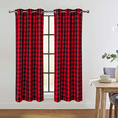 Red and Black Buffalo Plaid Textured Grommet Window Curtain Panels for Living Room Bedroom Christmas Decorative Window Treatment Curtains, 37 x 63 Inch, 2 Panels