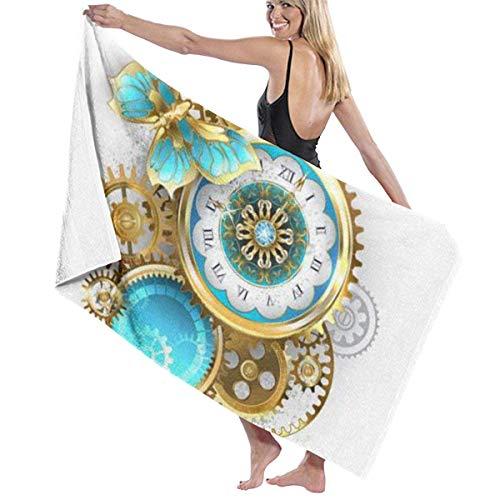 Antike Uhr mit Muster verziert mit Gold Schmetterling Badetuch Premium Collection Badetuch.Soft, Plüsch und stark saugfähig (31x59 Zoll)