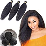 DAIMER Kinky Straight Human Hair 3 Bundles 100G/Pcs Yaki Straight Human Hair Bundle Unprocessed Brazilian Virgin Human Hair Extensions Double Weft Bundles Sew In Hair Weave Natural Black 10 12 14Inch