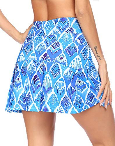 COOrun Golf Skirts for Women Pattern Athletic Skorts Pleated Polyester Fitness Outfits Tennis Activewear Skorts with Shorts Blue Pattern,Large