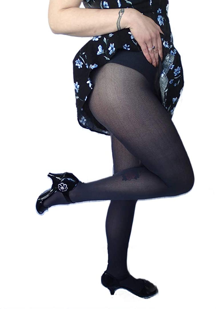 """Adrian Women's Patterned Opaque """"Firwood"""" 40 Den Tights Size 2 Nero"""