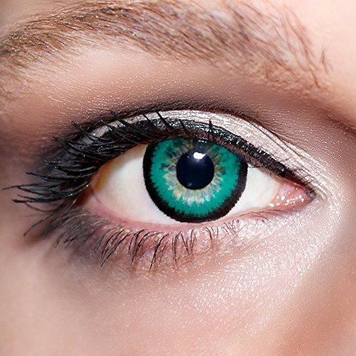 KwikSibs farbige Kontaktlinsen, grün, große Augen / big Eyes, weich, inklusive Behälter, BC 8.6 mm / DIA 15.0 / -2,50 Dioptrien, 1er Pack (1 x 2 Stück)