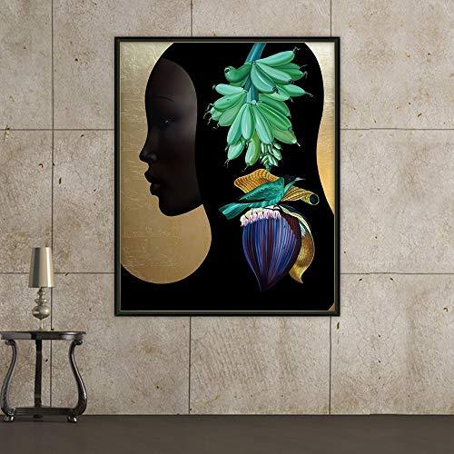KWzEQ Rahmenloses Gemälde Nordisches abstraktes modernes Mädchen mit Einer Vielzahl von Haarblumen und Vögeln Wandkunstplakat HauptdekorationAY6834 50X70cm