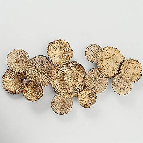 CasaJame Wanddeko Metall Modern, Wandschmuck Kreise, Wandobjekt Blüten, Wanddekoration Gold Antikoptik 110x56x7cm