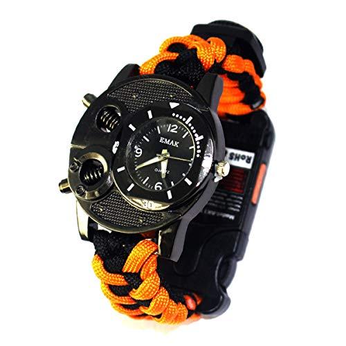 Carnival Reloj de Supervivencia de Pulsera Multifuncional Pulsera Tejida al Aire Libre, Impermeable, con Cuerda, Silbato, brújula y termómetro,Naranja