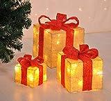 Bambelaa! 3er Led Deko Geschenke Leucht Boxen Timer Weihnachts Dekoration Weihnachtsdeko Beleuchtet Deko Weihnachten (Gelb) - 2