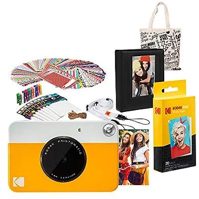 Kodak PRINTOMATIC Instant Print Camera (Yellow) Gift Bundle with Photo Album by Kodak