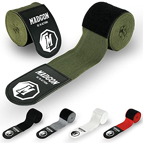 Vendas de Boxeo de Martial con Presilla para el Pulgar. ¡Vendajes sin Desgaste para MMA, Boxeo, Kickboxing y Combate! ¡Vendaje de muñeca, absorción óptima del Sudor!