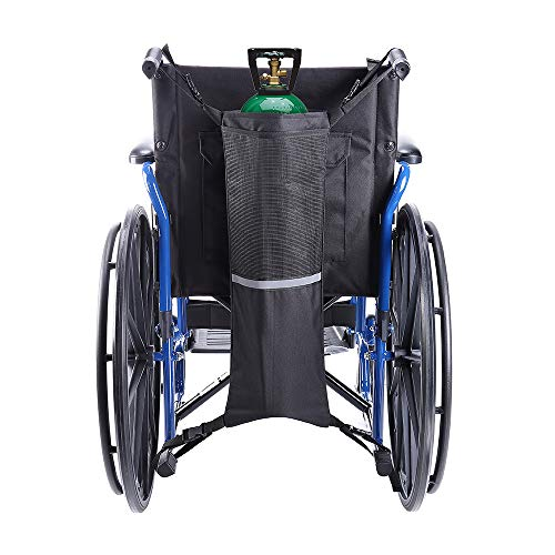 Issyzone Oxygen Cylinder Bag Oxygen Cylinder Holder for Wheelchair Walker Oxygen Tank Holder with Nice Mesh Storage Pocket Fits D and E Oxygen Tanks