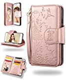 Samsung S8 Plus Case,Galaxy S8 Plus Wallet Case, FLYEE 9 Card Slot PU Leather Magnetic Protective Cover with Mirror and Wrist Strap for Samsung Galaxy S8 Plus 6.2 inch-Rose Gold
