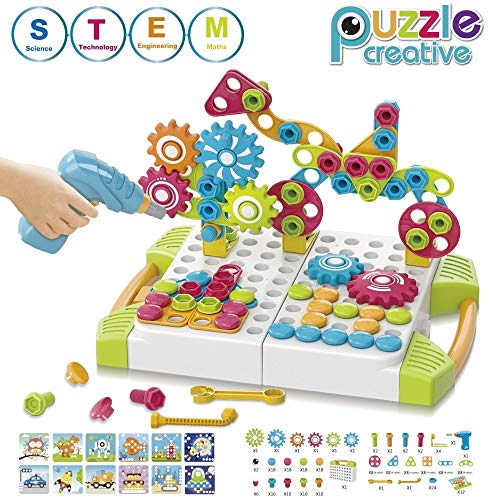 STEM Learning Toys (227 Piece) - 5 in 1 Building Block Games Set with Toy Drill & Screw Driver Tool Set - Educational Toys Construction Tool Kit Best Gift for Kids Boys & Girls Ages 3+
