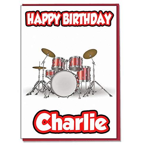 AK Giftshop Personalisierbares Schlagzeug-Set mit Geburtstagskarte, personalisierbar