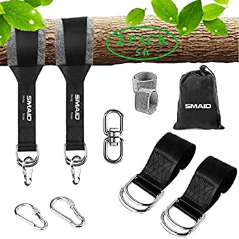 SMAID Tree Swing Hanging Straps Kit Holds 2600 lbs 5ft Extra Long,2 Tree Swing Straps+2 Heavy Duty Screw Lock Carabiners+2 Tree Protectors+Swivel Fits Fast & Easy Way to Hang Any Swing or Hammock
