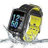 TECKEPIC N88 Montre Connectée Smartwatch Bracelet Connecté Trackers d'activité Podomètre Distance Calories Cardiofréquencemètre iPhone Samsung Android iOS Smartphone (Noir&Jaune)