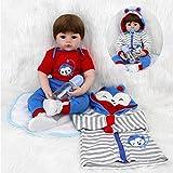 VUGO 18 Pulgadas 45cm Muñeca Reborn Bebé Suave Vinilo de Silicona Bebes Recien Nacidos Muñecos Reales Magnética Boca Reborn Niño Regalo Juguete para niños Mayores de 3 años