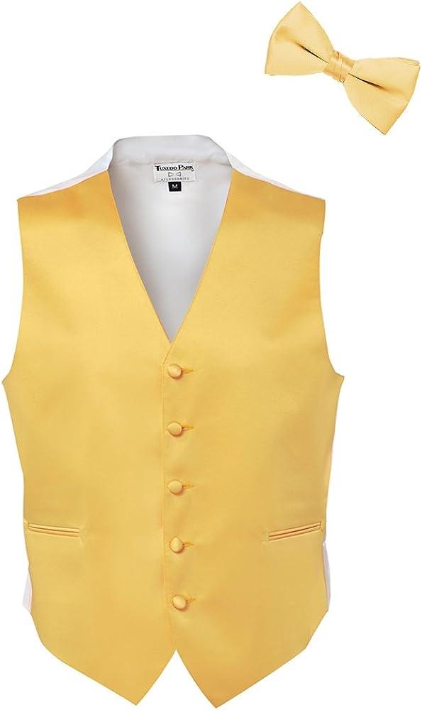 Canary Yellow Satin Tuxedo Vest and Bow Tie