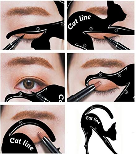 Eyeliner Cat Lidschattenkontur Schablone (2er Set) für lupenreine Smokey Eyes und Cateyes