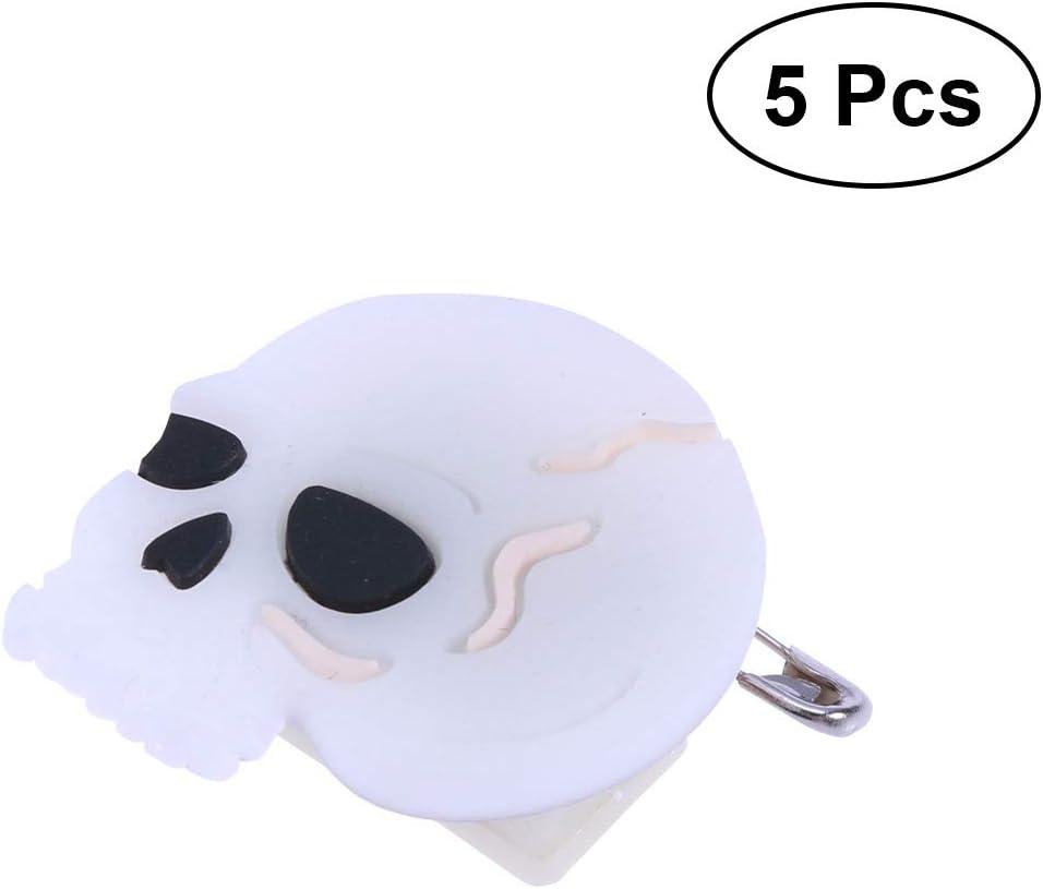 SOIMISS 5PCS Halloween Flashing Brooch Pins LED Brooch Kids Party Supplies Flashing Light Brooch (Skull)