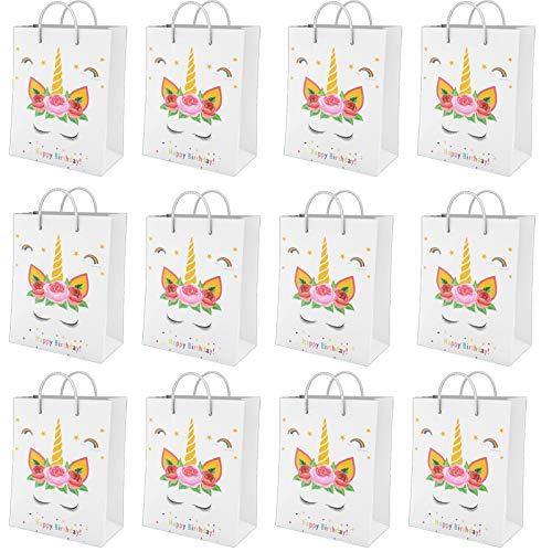 NO 12 Pezzi Sacchetti di Carta Unicorno, Sacchettini per Caramelle Compleanno con Manico, Riutilizzabile Borsa Regalo Festa, Unicorno Caramelle Sacchetti Compleanno per Feste Bambini